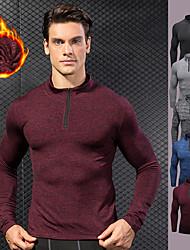 cheap -YUERLIAN Men's Pullover Running Shirt Winter Black Red Blue Rough Black Gray Fleece Running Fitness Gym Workout Long Sleeve Sport Activewear Thermal / Warm Windproof Soft High Elasticity Slim
