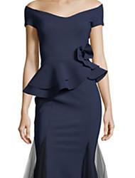 cheap -Sheath / Column Off Shoulder Floor Length Satin / Tulle Elegant Formal Evening Dress with Appliques / Ruffles 2020