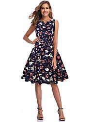 cheap -Women's Blue Black Dress Elegant A Line Floral Print S M