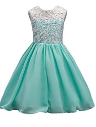 cheap -Ball Gown Ankle Length Pageant Flower Girl Dresses - Polyester Sleeveless Jewel Neck with Appliques / Ruching