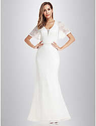 cheap -Mermaid / Trumpet V Neck Floor Length Lace Short Sleeve Made-To-Measure Wedding Dresses with Lace 2020 / Illusion Sleeve