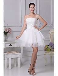 cheap -A-Line Wedding Dresses Strapless Mini Lace Organza Strapless with Lace Cascading Ruffles 2020