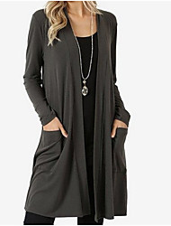 cheap -Women's Solid Colored Long Sleeve Cardigan Sweater Jumper, Collarless Black / Wine / Blue S / M / L