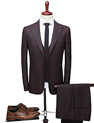 cheap -Tuxedos Tailored Fit Peak Single Breasted Two-buttons Polyester Plaid Checkered