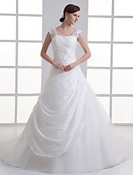 cheap -A-Line Wedding Dresses Square Neck Court Train Taffeta Tulle Regular Straps with Buttons Ruched Beading 2020