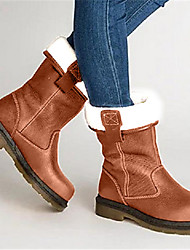 cheap -Women's Boots Flat Heel Round Toe PU Mid-Calf Boots Fall & Winter Brown