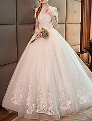 cheap -Ball Gown Off Shoulder Floor Length Polyester Short Sleeve Made-To-Measure Wedding Dresses with Beading / Appliques 2020