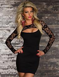 cheap -Women's Mini Black Dress Elegant Sheath Solid Colored M L Slim