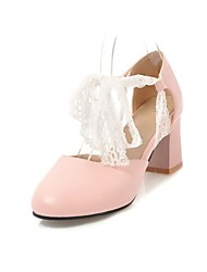 cheap -Women's Heels Chunky Heel Round Toe Faux Leather Casual / Sweet Walking Shoes Fall / Spring & Summer Black / White / Pink / Party & Evening