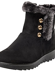 cheap -Women's Boots Flat Heel Round Toe Button Nappa Leather Booties / Ankle Boots Winter Black / Brown / Wine