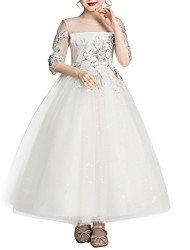 cheap -Ball Gown Ankle Length Flower Girl Dress - Polyester Half Sleeve Jewel Neck with Bow(s)