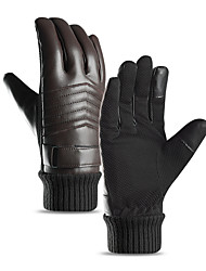 cheap -Winter Bike Gloves / Cycling Gloves Windproof Warm Wearable Stretchy Full Finger Gloves Sports Gloves Fleece Black Coffee for Adults Cycling / Bike Activity & Sports Gloves