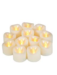 Недорогие -12 шт. 4 * 5 см пластиковые беспламенные светодиодные обету свечи на батарейках электрический чай свет реалистичные мерцающее пламя темная слоновая кость помахал краем с 5 ч таймер на рождество