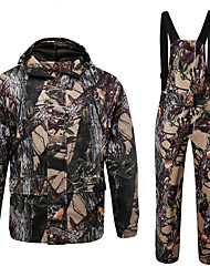 cheap -Men's Hunting Jacket with Pants Hunting Suit Outdoor Windproof Breathable Warm Comfortable Autumn / Fall Winter Camo Jacket Bib Pants Clothing Suit Cotton 100% Polyester Hunting Fishing Camping