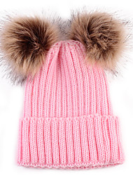 cheap -Toddler / Infant Boys' / Girls' Vintage / Active / Sweet Solid Colored Knitting Acrylic / Knitwear Hats & Caps Black / White / Blushing Pink One-Size