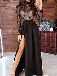 cheap -Women's Maxi Black Dress Elegant Sexy Cocktail Party New Year Going out Swing Solid Colored Turtleneck Mesh Split Glitter S M