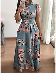 cheap -Women's A-Line Dress Maxi long Dress - Short Sleeve Floral Print Print Turtleneck Elegant Hot Holiday vacation dresses Black Navy Blue Light Blue S M L XL XXL 3XL 4XL 5XL