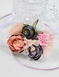 "cheap -Wedding Flowers Wrist Corsages Wedding Party / Birthday Party Lace / Organza / Fabrics 3.54""(Approx.9cm)"