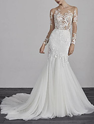 cheap -Mermaid / Trumpet Wedding Dresses Jewel Neck Court Train Lace Tulle Long Sleeve Boho Illusion Sleeve with Appliques 2020