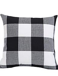 cheap -1 pcs Linen Pillow Cover & Insert, Grid / Plaid Patterns Throw Pillow