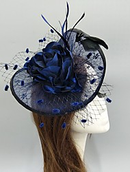 cheap -Feathers / Net / Fabrics Fascinators / Hats / Headwear with Feather / Lace-trimmed bottom / Gold Coin 1 PC Wedding / Special Occasion / Horse Race Headpiece