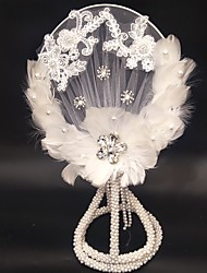 """cheap -Wedding Flowers Bouquets / Unique Wedding Décor Wedding / Special Occasion Lace / Feathers / Beads 17.72""""(Approx.45cm)"""