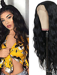 cheap -Synthetic Lace Front Wig Loose Wave Water Wave Kardashian Middle Part with Baby Hair Lace Front Wig Long Natural Black Synthetic Hair 18-30 inch Women's Heat Resistant Classic Synthetic Black