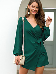 cheap -Women's A Line Dress - Solid Colored Red Green S M L XL