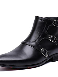 cheap -Men's Fashion Boots Nappa Leather Spring & Summer / Fall & Winter Classic / Vintage Boots Warm Booties / Ankle Boots Black / Party & Evening