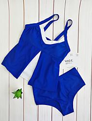 abordables -Femme Basique Bleu Licou Slip Brésilien Une-pièce Maillots de Bain - Couleur Pleine Imprimé L XL XXL Bleu
