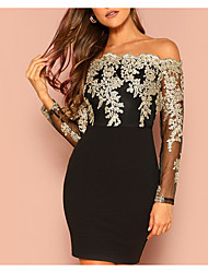 cheap -Women's Bodycon Dress - Long Sleeve Geometric Glitter Lace up Off Shoulder Elegant Sexy Cocktail Party New Year Going out Slim Wine Black S M L XL