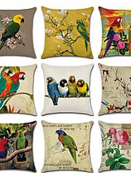 cheap -Set of 9 Linen Pillow Cover, Floral Bird Rustic Cartoon Throw Pillow