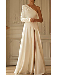 cheap -A-Line One Shoulder Sweep / Brush Train Stretch Satin Long Sleeve Simple Modern Wedding Dresses with Draping / Split Front 2020