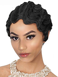 cheap -Human Hair Wig Short Wavy Pixie Cut Natural Blonde New Design New Arrival Hot Sale Capless Indian Hair Vietnamese Hair Women's Black#1B 6 inch