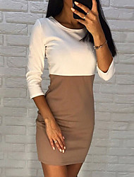 cheap -Women's Going out Casual / Daily Street chic Elegant Bodycon Sheath Dress - Color Block Solid Colored Patchwork Black White Brown S M L XL