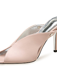 cheap -Women's Sandals Stiletto Heel Peep Toe Rivet PU Minimalism Summer Black / White / Red