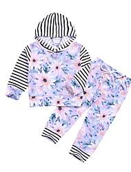 baratos -bebê Para Meninas Moda de Rua Floral Manga Longa Padrão Conjunto Roxo