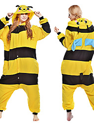 cheap -Adults' Kigurumi Pajamas Bee Animal Onesie Pajamas Coral fleece Yellow Cosplay For Men and Women Animal Sleepwear Cartoon Festival / Holiday Costumes