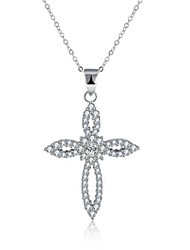 cheap -Women's Cubic Zirconia Pendant Necklace Geometrical Cross Fashion Imitation Diamond S925 Sterling Silver White 40+5 cm Necklace Jewelry 1pc For Gift Daily