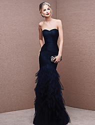 cheap -Mermaid / Trumpet Sexy Formal Evening Dress Strapless Sleeveless Floor Length Tulle with Ruched 2020