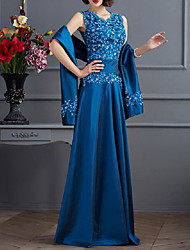 cheap -Two Piece A-Line Mother of the Bride Dress Wrap Included V Neck Floor Length Chiffon Lace Short Sleeve with Sash / Ribbon Ruching 2021
