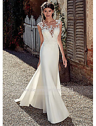 cheap -A-Line Wedding Dresses Bateau Neck Court Train Chiffon Lace Tulle Cap Sleeve Illusion Detail Backless with Lace Appliques 2020