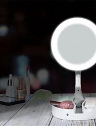 Недорогие -Светодиодное зеркало для макияжа круглой формы для рабочего стола косметическое зеркало 5x / 10x увеличительное двустороннее зеркало с подсветкой для женщин