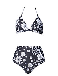 cheap -Women's Basic Black Bandeau Cheeky High Waist Bikini Swimwear - Floral Geometric Lace up Print S M L Black