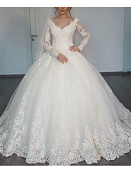 cheap -A-Line V Neck Sweep / Brush Train Lace Long Sleeve Illusion Sleeve Wedding Dresses with Lace 2020