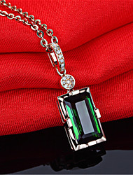 cheap -Double Fair Vintage Square Green Crystal Pendant Necklace For Women Luxury AAACZ Gift For Birthday Party Fashion Jewelry