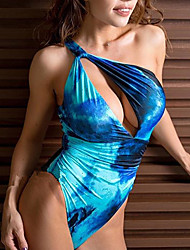 cheap -Women's Basic Blue Halter High Waist One-piece Swimwear - Solid Colored S M L Blue