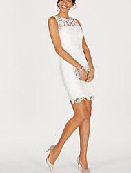 cheap -Sheath / Column Sexy White Holiday Cocktail Party Dress Illusion Neck Sleeveless Short / Mini Lace Satin with Lace Insert 2020