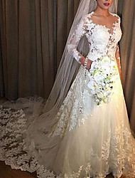 cheap -A-Line V Neck Court Train Lace / Tulle Long Sleeve Illusion Sleeve Wedding Dresses with Lace Insert 2020