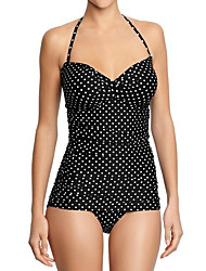 cheap -Women's Basic Black Halter Cheeky One-piece Swimwear Swimsuit - Floral Print S M L Black